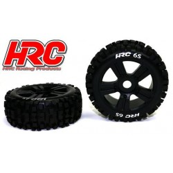 HRC60816BK6S Pneus - 1/8 Buggy - montés - Jantes noires - 17mm Hex - Bulldog 6S (2 pces)