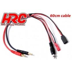 HRC9121 Câble de charge – doré - Prise Banane JST / Accu récepteur BEC / Chauffe-Bougie