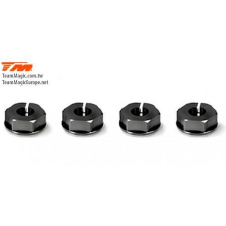 KF1418-1 Pièce Option - TM E4D/E4D-MF - Aluminium 7075 - Hexagones de roues -0.75mm (4 pces)