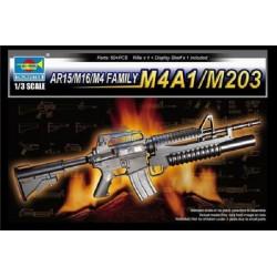 TRU01909 TRUMPETERAR15/M16/M4 Family M4A1/M203 1/3