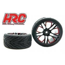 HRC61016A Pneus - 1/10 Touring - montés - Jantes Five Blocks Rouge/Noir - 12mm hex - HRC Street Devil (2 pces)