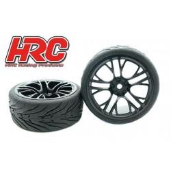 HRC61016B Pneus - 1/10 Touring - montés - Jantes Five Blocks Noir - 12mm hex - HRC Street Devil (2 pces)