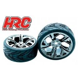 HRC61016C Pneus - 1/10 Touring - montés - Jantes Inferno Gunmetal - 12mm hex - HRC Street Devil (2 pces)