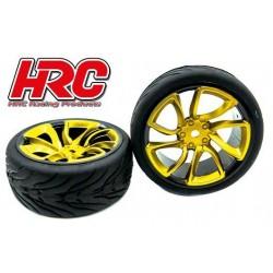 HRC61016D Pneus - 1/10 Touring - montés - Jantes Turbo Jaune - 12mm hex - HRC Street Devil (2 pces)