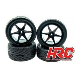 """HRC61107S Pneus - 1/10 Buggy - montés - jantes noires - 4WD Avant & Arrière - 2.2"""" - Arrow Pattern Radial (set de 4)"""