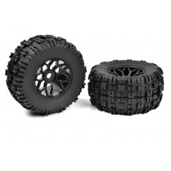 C-00180-612 Team Corally - Off-Road 1/8 MT Tires - Mud Claws - Glued on Black Rims - 1 pair