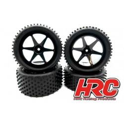 """HRC61105S Pneus - 1/10 Buggy - montés - jantes noires - 4WD Avant & Arrière - 2.2"""" - Stub Pattern (set de 4)"""