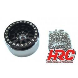 "HRC65101BK Jantes - 1/10 Crawler - 1.9"" - 12mm Hex - Aluminium - 10-Spokes - Noir (4 pces)"
