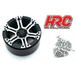 """HRC65103BKS Jantes - 1/10 Crawler - 1.9"""" - 12mm Hex - Aluminium - 6-Spokes - Noir / Argent (4 pces)"""
