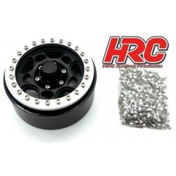 """HRC65104BKS Jantes - 1/10 Crawler - 1.9"""" - 12mm Hex - Aluminium - 5-Spokes - Noir / Argent (4 pces)"""