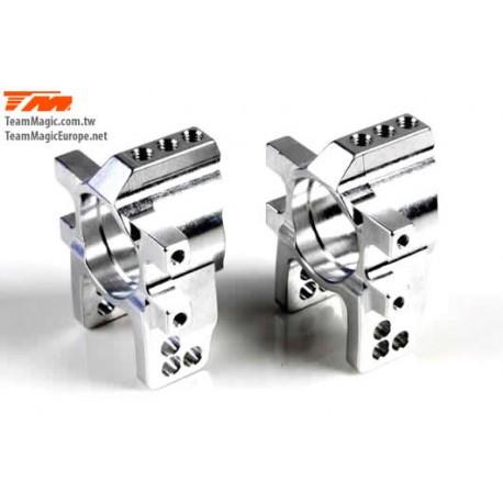KF2157S Option Part - E4D-MF - Aluminum 7075 - Rear Hub Carrier - Silver (2 pcs)
