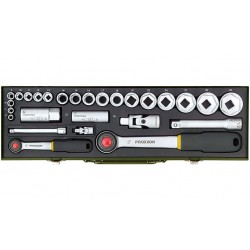 """PRO23020 Coffret douilles auto avec cliquet 1/2"""" et 1/4"""" de 6 à 32 mm, 27 pièces"""
