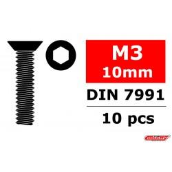 C-30011 Team Corally - Vis en acier M4 x 8mm - Tête cylindrique - Six-pans - 10 pcs