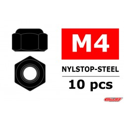 C-31000 Team Corally - Ecrou Nylstop en acier M2 - Noir - 10 pcs