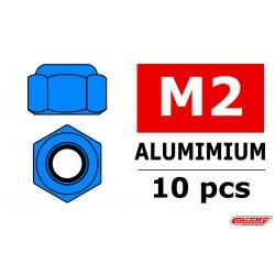 C-31014 Team Corally - Ecrou aluminium Nylstop - M2 - Bleu - 10 pcs