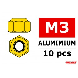 C-31020 Team Corally - Ecrou aluminium Nylstop - M3 - Or - 10 pcs