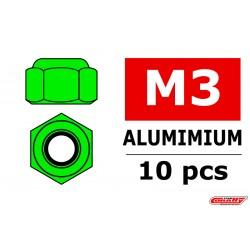 C-31021 Team Corally - Ecrou aluminium Nylstop - M3 - Vert - 10 pcs