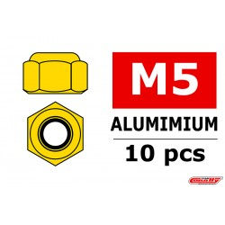 C-31040 Team Corally - Ecrou aluminium Nylstop - M5 - Or - 10 pcs