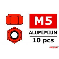 C-31045 Team Corally - Ecrou aluminium Nylstop - M5 - Rouge - 10 pcs