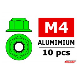C-31131 Team Corally - Ecrou aluminium Nylstop avec flasque - M4 - Vert - 10 pcs