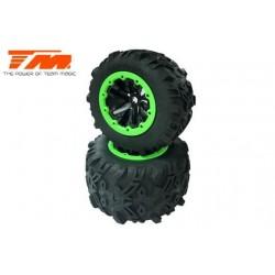 "TM505252BKG Pneus - Monster Truck - montés - E6 7.1"" Size - Green Ring (2 pcs)"