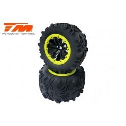 """TM505252BKY Pneus - Monster Truck - montés - E6 7.1"""" Size - Yellow Ring (2 pcs)"""