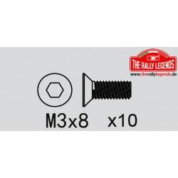 EZRL2270 Vis - tête fraisée - Hex (Allen) - M3 x 8mm (10 pcs)