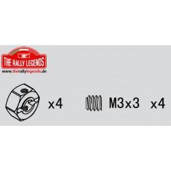 EZRL2293 Pièce détachée - Rally Legends - Hexagones de roues aluminium 12mm (4 pcs)