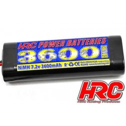 HRC01636S Accu - 6 Eléments - HRC Power Batteries 3600 - NiMH - 7.2V 3600mAh - Stick - Prise Tamiya