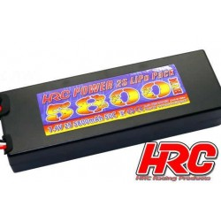 HRC02258D Accu - LiPo 2S - 7.4V 5800mAh 50C - RC Car - HRC Power 5800 - Hard Case - Prise Ultra T