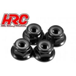 HRC1051BK Ecrous de roues - M4 nylstop flasqué - Aluminium - Noir (4 pces)