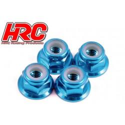 HRC1051BL Ecrous de roues - M4 nylstop flasqué - Aluminium - Bleu (4 pces)