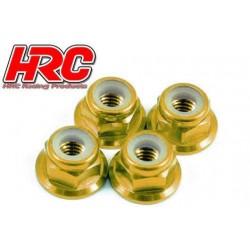 HRC1051GD Ecrous de roues - M4 nylstop flasqué - Aluminium - Gold (4 pces)