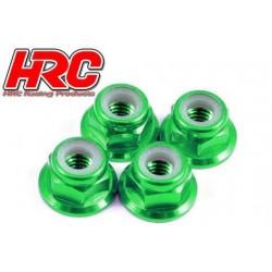 HRC1051GR Ecrous de roues - M4 nylstop flasqué - Aluminium - Vert (4 pces)