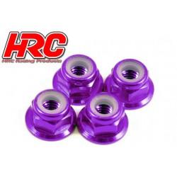 HRC1051PU Ecrous de roues - M4 nylstop flasqué - Aluminium - Purple (4 pces)