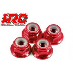 HRC1051RE Ecrous de roues - M4 nylstop flasqué - Aluminium - Rouge (4 pces)