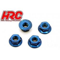 HRC1052BL Écrous de roues - TSW Pro Racing - M4 strié flasqué - Acier - Bleu (4 pces)