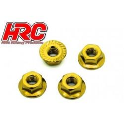 HRC1052GD Écrous de roues - TSW Pro Racing - M4 strié flasqué - Acier - Gold (4 pces)