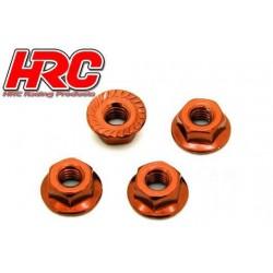 HRC1052OR Ecrous de roues - TSW Pro Racing - M4 strié flasqué - Acier - Orange (4 pces)