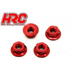 HRC1052RE Ecrous de roues - TSW Pro Racing - M4 strié flasqué - Acier - Rouge (4 pces)