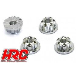 HRC1053SL Ecrous de roues - TSW Pro Racing - M4 strié flasqué - Aluminium - Silver (4 pces)