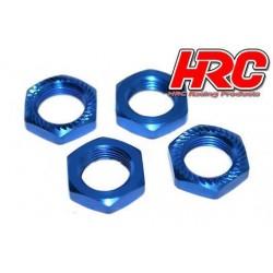 HRC1056BL Ecroux de roues 1/8 - TSW Pro Racing - 17mm x 1.0 - strié flasqué - Bleu (4 pces)