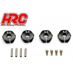 HRC1082BK5 Pièce Option - 1/10 Touring / Drift - Aluminium - Hexagones de roues 12mm - Largeur 5mm - Noir (4 pces)