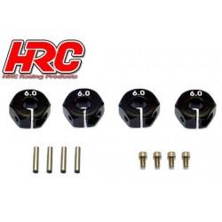 HRC1082BK6 Pièce Option - 1/10 Touring / Drift - Aluminium - Hexagones de roues 12mm - Largeur 6mm - Noir (4 pces)