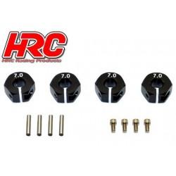 HRC1082BK7 Pièce Option - 1/10 Touring / Drift - Aluminium - Hexagones de roues 12mm - Largeur 7mm - Noir (4 pces)