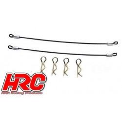 HRC2051D Clips de carrosserie - 1/10 - avec céble métallique de 110mm (4 + 2 pces)