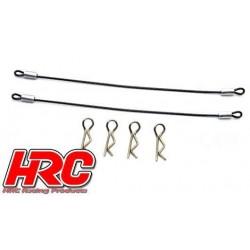 HRC2051F Clips de carrosserie - 1/10 - avec céble métallique de 120mm (4 + 2 pces)