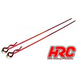 HRC2070RE Clips de carrosserie - 1/10 - longs - petite boucle - Rouge (10 pces)