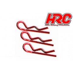 HRC2071RE Clips de carrosserie - 1/10 - courts - petite boucle - Rouge (10 pces)