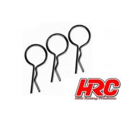 HRC2072BK Clips de carrosserie - 1/10 - courts - large boucle - Noir (10 pces)